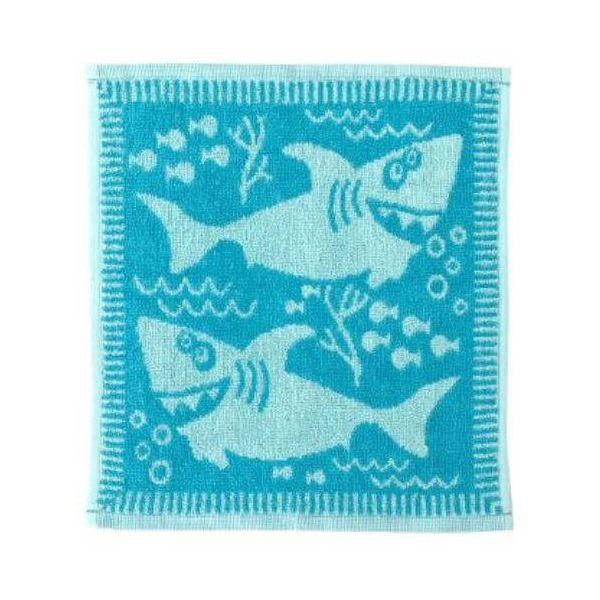 Lovely soft baby face cloths in blue shark design.