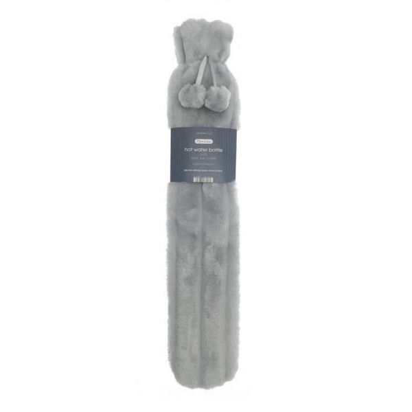 Get instant comfortable heat with our long hot water bottle. Comes in a silver colour with luxury faux fur cover.