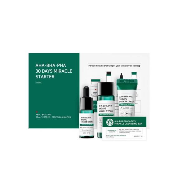 This Some By MI AHA.BHA.PHA 30 Days Miracle Starter Kit consists of a toner, serum, cleansing bar and cream.