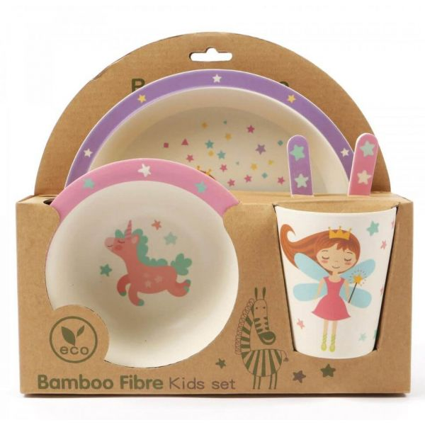 Lovely kids bamboo dinner set in Twinkle fairy and Unicorn design. BPA free. Gift idea for baby showers and kids presents.