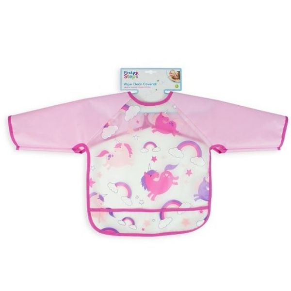 Unicorn long sleeve bib for babies and toddlers that keeps your little one clean during mealtimes.