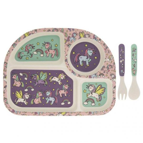 Kids bamboo dinner set in unicorn and rainbows design. BPA and Phthalate free. Gift idea for baby showers and kids present.