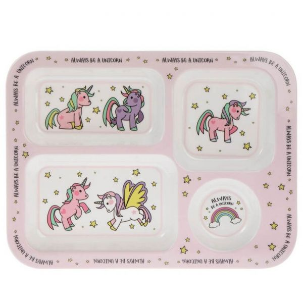 Kids unicorn tray for foods and snacks at home and on the go.