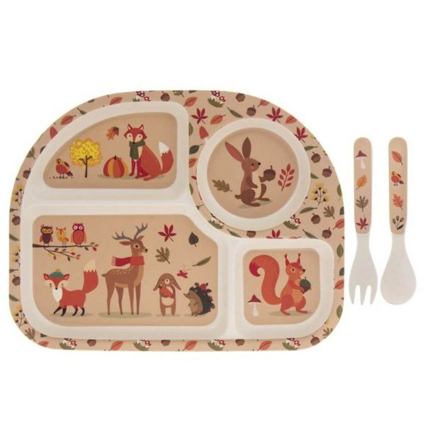 Kids bamboo dinner set in woodland animals design. BPA and Phthalate free. Gift idea for baby showers and kids present.