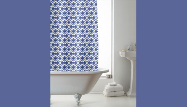 Aztec Design Blue Shower Curtains with Rings