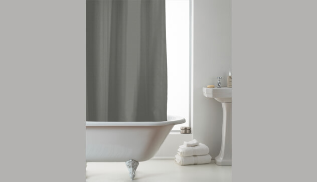 Grey Embossed Design Shower Curtains with Rings