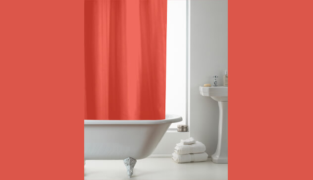 Orange Design Shower Curtains with Rings